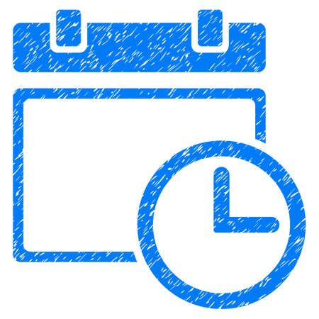 Grunge Date And Time icon with grunge design and scratched texture. Unclean raster blue pictogram for rubber seal stamp imitations and watermarks. Draft sign symbol. Stock Photo