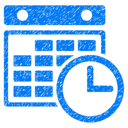 Grunge Timetable icon with grunge design and dirty texture. Unclean vector blue pictogram for rubber seal stamp imitations and watermarks. Draft sign symbol. Illustration