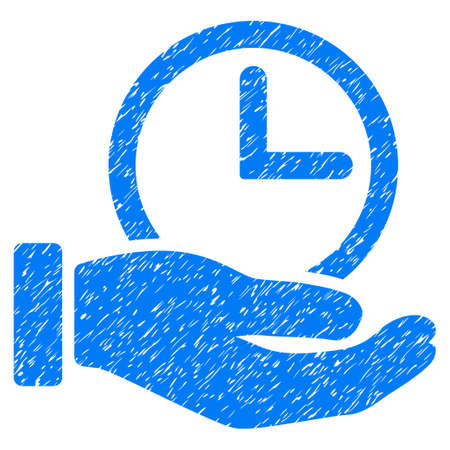 Grunge Time Service icon with grunge design and dirty texture. Unclean vector blue pictogram for rubber seal stamp imitations and watermarks. Draft sign symbol. Illustration