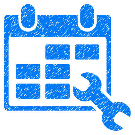 Grunge Configure Timetable icon with grunge design and scratched texture. Unclean vector blue pictogram for rubber seal stamp imitations and watermarks. Draft sign symbol.