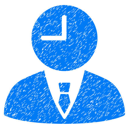 Grunge Time Manager icon with grunge design and dirty texture. Unclean vector blue pictogram for rubber seal stamp imitations and watermarks. Draft sign symbol.