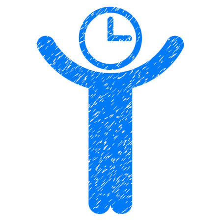 temporary: Grunge Time Manager icon with grunge design and scratched texture. Unclean vector blue pictogram for rubber seal stamp imitations and watermarks. Draft sticker symbol.