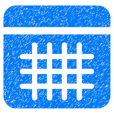 Grunge Calendar icon with grunge design and dirty texture. Unclean vector blue pictogram for rubber seal stamp imitations and watermarks. Draft sign symbol. Illustration