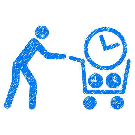 Grunge Clock Shopping icon with grunge design and scratched texture. Unclean vector blue pictogram for rubber seal stamp imitations and watermarks. Draft emblem symbol.
