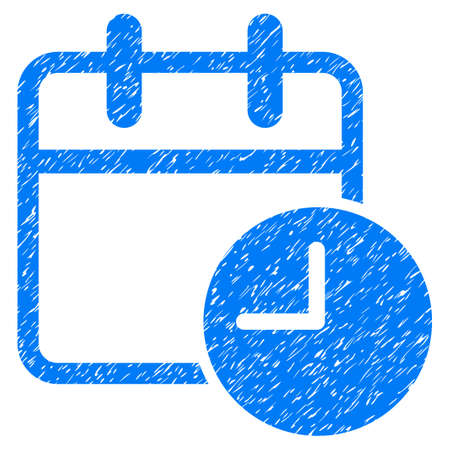 Grunge Date Time icon with grunge design and unclean texture. Unclean vector blue pictogram for rubber seal stamp imitations and watermarks. Draft sign symbol.