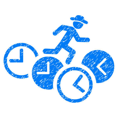 Grunge Gentleman Running Over Clocks icon with grunge design and dust texture. Unclean vector blue pictogram for rubber seal stamp imitations and watermarks. Draft emblem symbol.