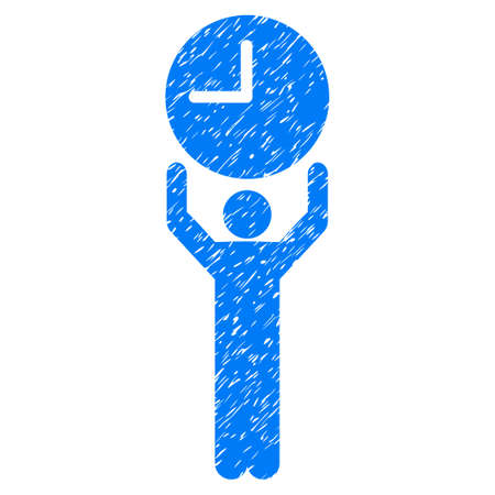 Grunge Time Manager icon with grunge design and unclean texture. Unclean raster blue pictogram for rubber seal stamp imitations and watermarks. Draft emblem symbol.