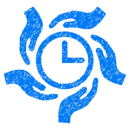 Grunge Time Care icon with grunge design and scratched texture. Unclean vector blue pictogram for rubber seal stamp imitations and watermarks. Draft emblem symbol.