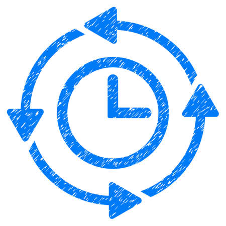 Grunge Wayback Clock icon with grunge design and dirty texture. Unclean vector blue pictogram for rubber seal stamp imitations and watermarks. Draft sticker symbol.