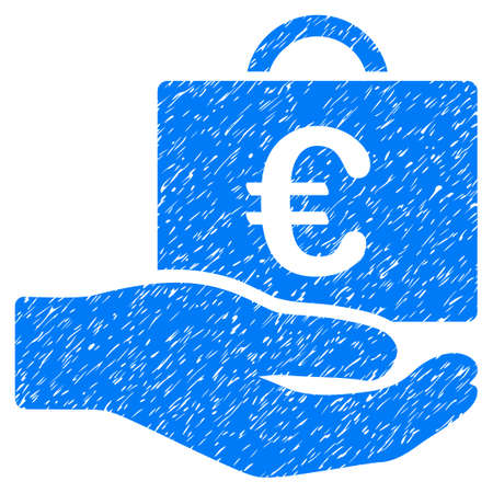 Grunge Euro Accounting Service icon with grunge design and dust texture. Unclean raster blue pictogram for rubber seal stamp imitations and watermarks. Draft sticker symbol. Stock Photo