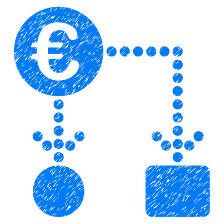 Grunge Euro Flow Chart icon with grunge design and unclean texture. Unclean raster blue pictogram for rubber seal stamp imitations and watermarks. Draft sticker symbol.
