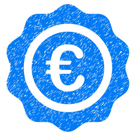 Grunge Euro Quality Seal icon with grunge design and unclean texture. Unclean raster blue pictogram for rubber seal stamp imitations and watermarks. Draft sticker symbol.