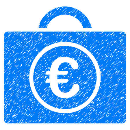 Grunge Euro Bookkeeping icon with grunge design and dust texture. Unclean vector blue pictogram for rubber seal stamp imitations and watermarks. Draft sticker symbol.