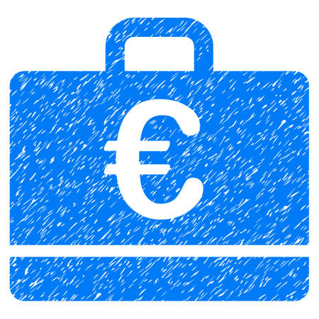 Grunge Euro Case icon with grunge design and dust texture. Unclean vector blue pictogram for rubber seal stamp imitations and watermarks. Draft sticker symbol. Illustration