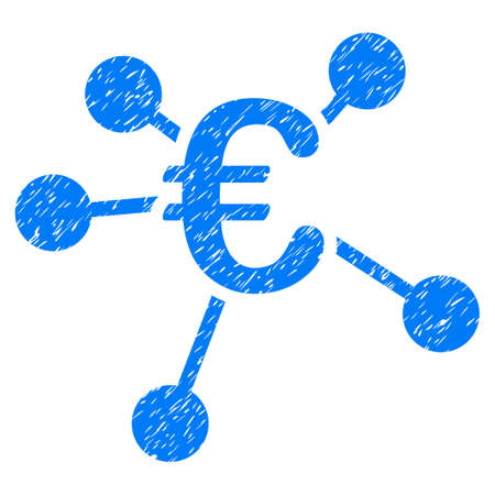 subsidiary: Grunge Euro Distribution icon with grunge design and dust texture. Unclean vector blue pictogram for rubber seal stamp imitations and watermarks. Draft emblem symbol.