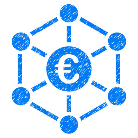 Grunge Euro Bank Network icon with grunge design and unclean texture. Unclean vector blue pictogram for rubber seal stamp imitations and watermarks. Draft emblem symbol.