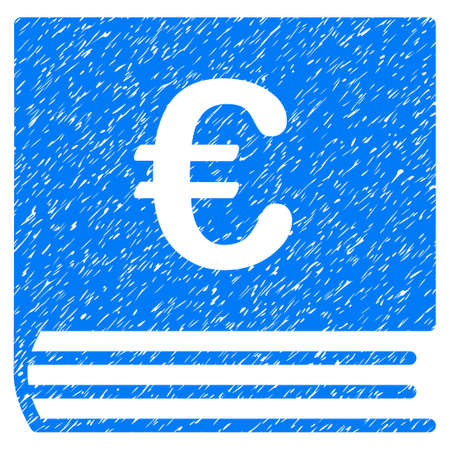 billfold: Grunge Euro Bookkeeping icon with grunge design and dirty texture. Unclean vector blue pictogram for rubber seal stamp imitations and watermarks. Draft sticker symbol.