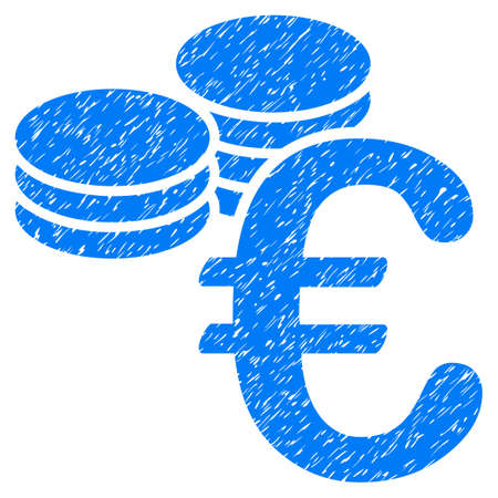 Grunge Euro Coins icon with grunge design and dirty texture. Unclean vector blue pictogram for rubber seal stamp imitations and watermarks. Draft sticker symbol.