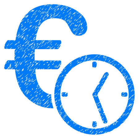 Grunge Euro Credit icon with grunge design and dirty texture. Unclean vector blue pictogram for rubber seal stamp imitations and watermarks. Draft sticker symbol. Illustration