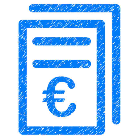 Grunge Euro Invoices icon with grunge design and scratched texture. Unclean vector blue pictogram for rubber seal stamp imitations and watermarks. Draft sign symbol.