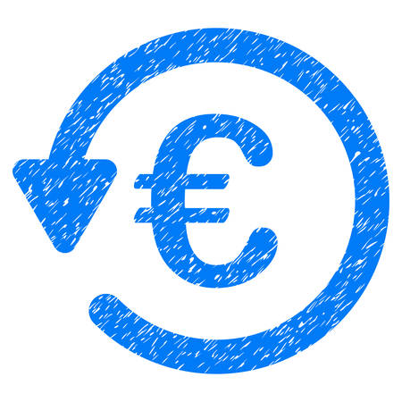 Grunge Euro Rebate icon with grunge design and scratched texture. Unclean vector blue pictogram for rubber seal stamp imitations and watermarks. Draft emblem symbol.