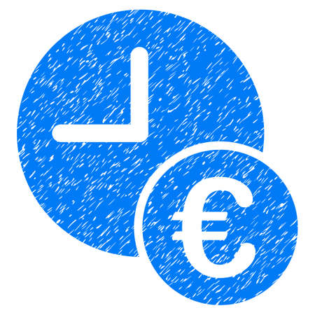 Grunge Euro Recurring Payments icon with grunge design and dust texture. Unclean vector blue pictogram for rubber seal stamp imitations and watermarks. Draft sign symbol.