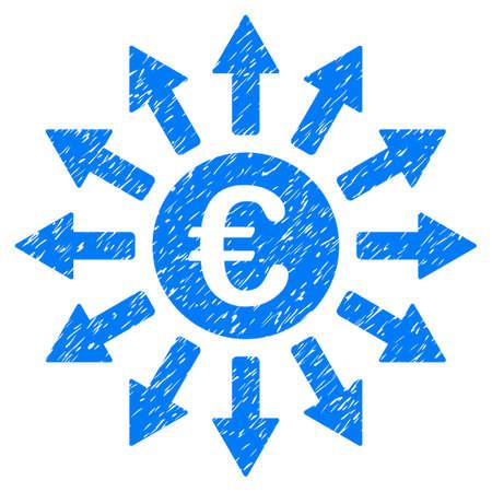 monedas antiguas: Grunge Euro Payments icono con el diseño del grunge y textura de polvo. Pictograma azul impuro del vector para las imitaciones y las marcas de agua del sello del sello de goma. Símbolo de signo de borrador.