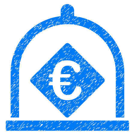 Grunge Euro Deposit icon with grunge design and scratched texture. Unclean raster blue pictogram for rubber seal stamp imitations and watermarks. Draft sticker symbol.