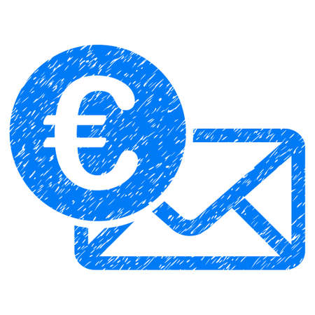 Grunge Euro Message icon with grunge design and dirty texture. Unclean raster blue pictogram for rubber seal stamp imitations and watermarks. Draft sticker symbol.