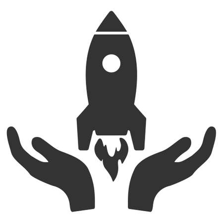 Gray Rocket Startup interface toolbar pictogram. Vector pictogram style is a flat symbol on diagonal hatch transparent background.
