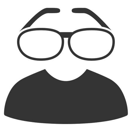 Gray Clever Spectacles toolbar icon. Vector pictograph style is a flat symbol on diagonal hatch transparent background.