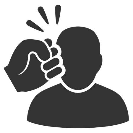 Gray Crime Violation Fist Strike interface pictogram. Vector pictogram style is a flat symbol on diagonal hatch transparent background.