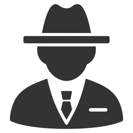 Gray Agent interface toolbar icon. Vector pictogram style is a flat symbol on diagonal hatch transparent background. Ilustração
