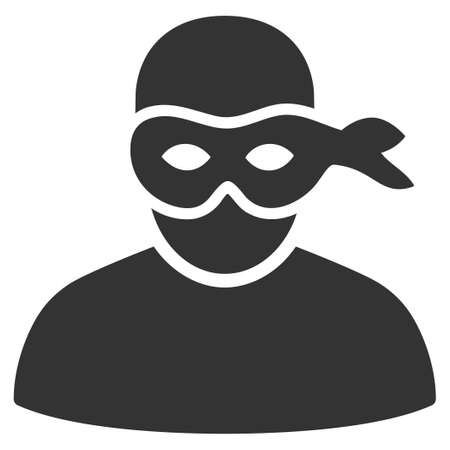 Gray Anonimious Thief interface toolbar pictogram. Vector pictogram style is a flat symbol on diagonal hatch transparent background.