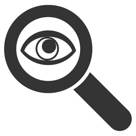 Gray Eye Explore interface toolbar icon. Vector pictograph style is a flat symbol on diagonal hatch transparent background. 일러스트