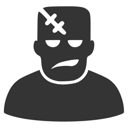 Gray Frankenstein toolbar icon. Vector pictogram style is a flat symbol on diagonal hatch transparent background.