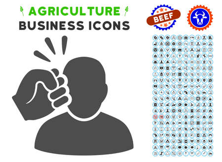 Crime Violation Fist Strike gray icon with agriculture business icon clipart. Vector illustration style is a flat iconic symbol. Agriculture icons are rounded with blue circles. Illustration