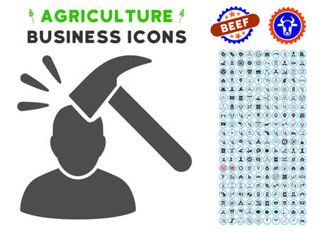 Head Shock gray icon with agriculture commercial glyph package. Vector illustration style is a flat iconic symbol. Agriculture icons are rounded with blue circles.