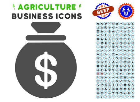 money packs: Money Bag gray icon with agriculture business icon package. Vector illustration style is a flat iconic symbol. Agriculture icons are rounded with blue circles.
