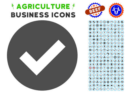 Ok gray icon with agriculture commercial pictogram package. Vector illustration style is a flat iconic symbol. Agriculture icons are rounded with blue circles. Illustration