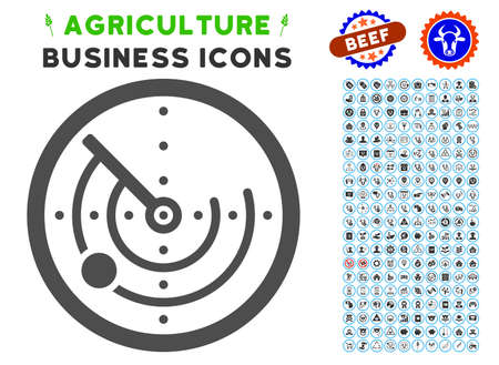 blip: Radar gray icon with agriculture business pictogram clipart. Vector illustration style is a flat iconic symbol. Agriculture icons are rounded with blue circles.