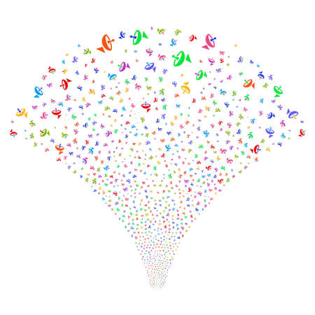 Antenna salute stream. Vector illustration style is flat bright multicolored iconic symbols on a white background. Object explosion fountain combined from random pictograms.