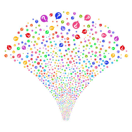 Help Balloon salute stream. Vector illustration style is flat bright multicolored iconic symbols on a white background. Object explosion fountain organized from random icons.