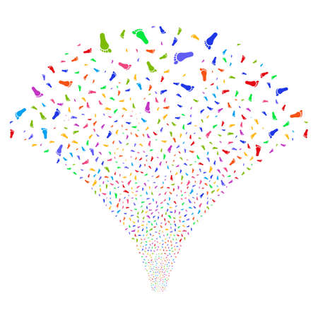 Human Footprint salute stream. Vector illustration style is flat bright multicolored iconic symbols on a white background. Object explosion fountain constructed from random symbols.