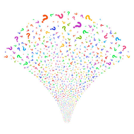 Question salute stream. Vector illustration style is flat bright multicolored iconic symbols on a white background. Object fireworks fountain made from random design elements.