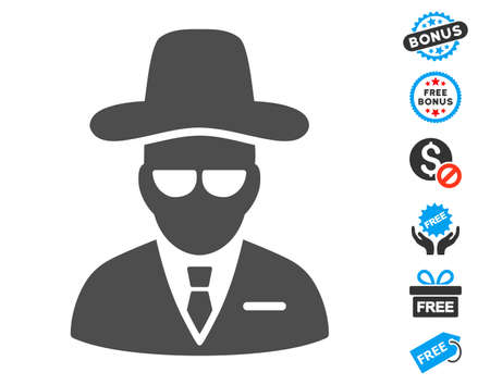 Agent gray pictograph with free bonus pictograph collection. Vector illustration style is flat iconic symbols.