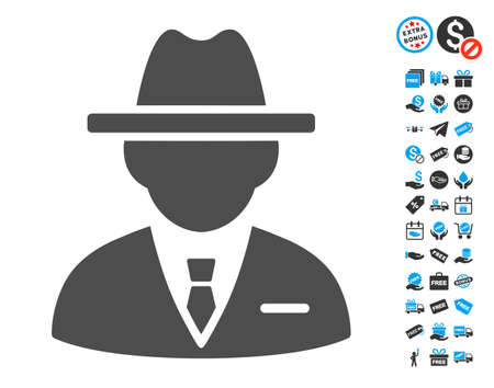 fbi: Agent gray pictogram with free bonus symbols. Vector illustration style is flat iconic symbols.