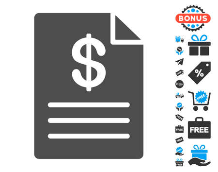 enumerate: Price List gray pictograph with free bonus pictograms. Vector illustration style is flat iconic symbols. Illustration