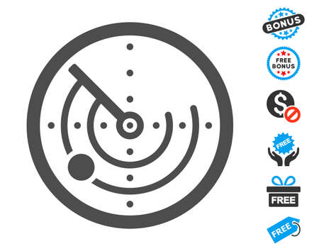 Radar gray pictogram with free bonus pictograph collection. Vector illustration style is flat iconic symbols.