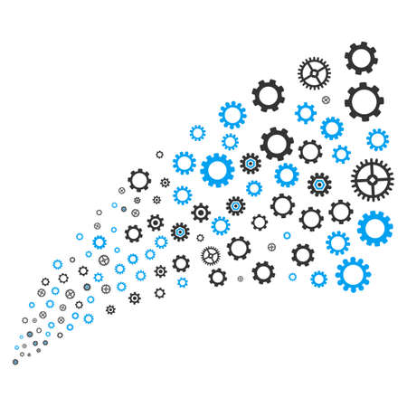 Gears And Cogs source stream. Vector illustration style is flat blue and gray iconic symbols on a white background. Object explosion fountain done from scattered design elements.